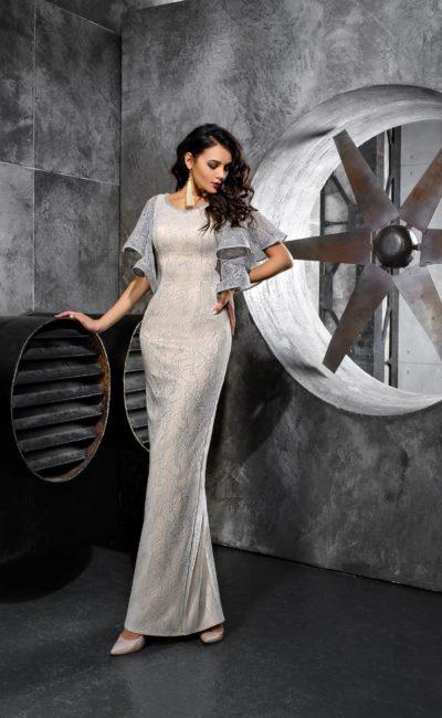 Серебристо-белое платье