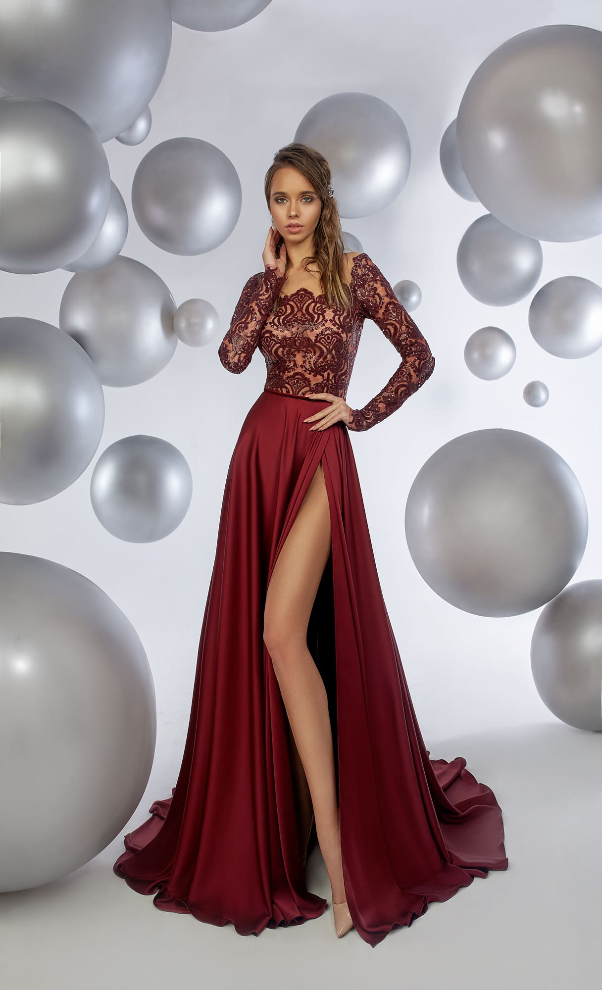 edeac593266 Бордовое платье с длинным рукавом Armonia Maroon. Купить вечернее ...