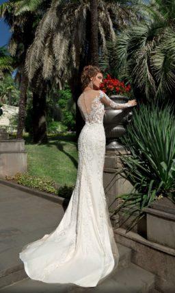 Свадебное платье-трансформер с иллюзией прозрачности и верхней юбкой.