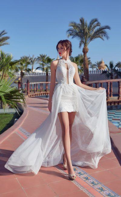 Короткое летнее свадебное платье