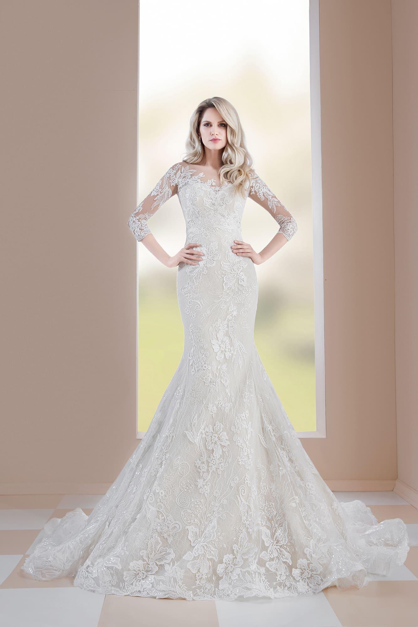 6c2ccf70ec82ef5 Свадебное платье «рыбка» с элегантным рукавом и кружевом по всей длине.