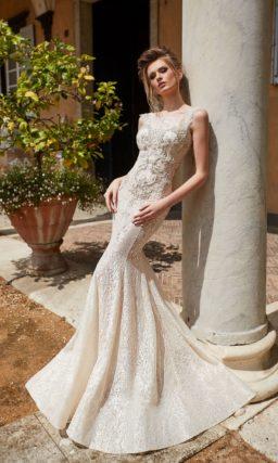 Золотистое свадебное платье-трансформер с верхней юбкой.