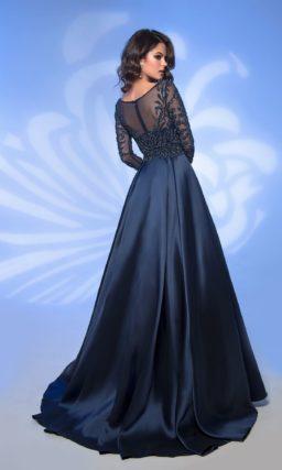Выпускное платье темно-синего цвета