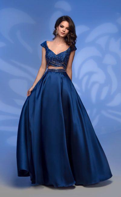 Раздельное синее платье