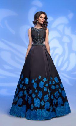 Черно-синее вечернее платье