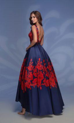 Сине-красное вечернее платье