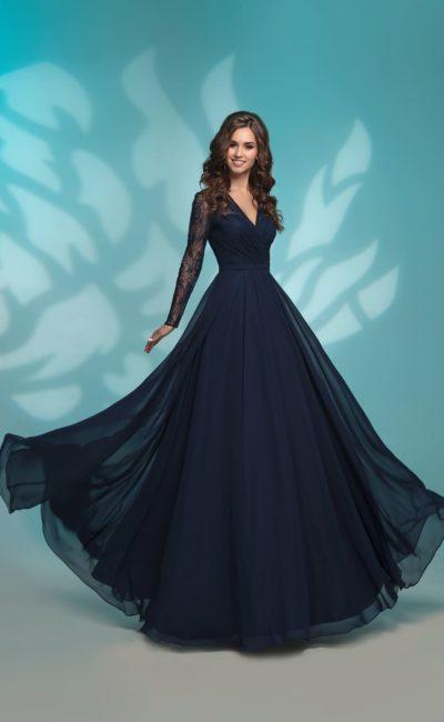 7d3efa84a76 Вечернее платье с рукавом 31254 navy
