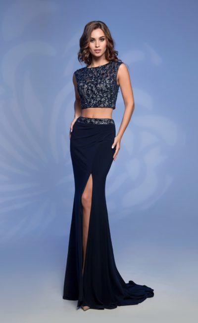Темно-синее раздельное платье