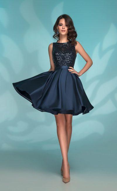 37aa0f547c5 Темно-синее короткое выпускное платье 72034 navy