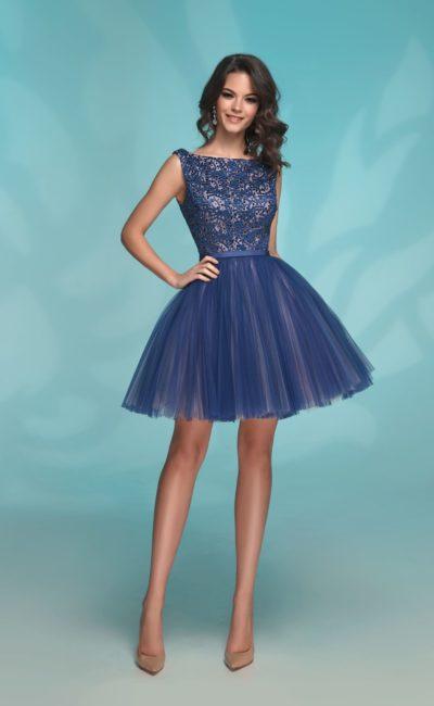 Короткое выпускное платье синего цвета