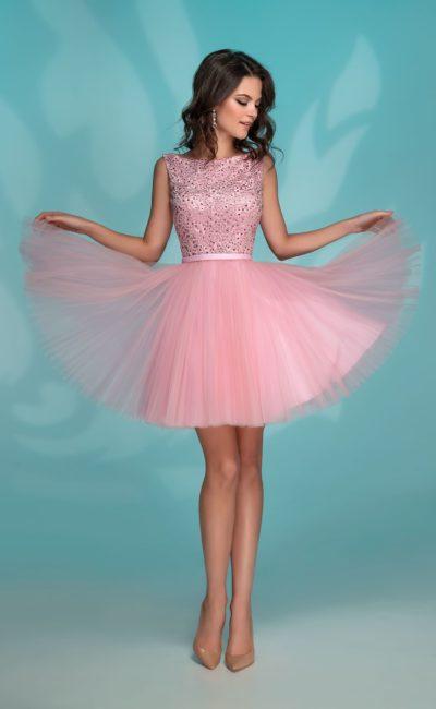 080dcb94929 Розовое короткое платье 72765 pink
