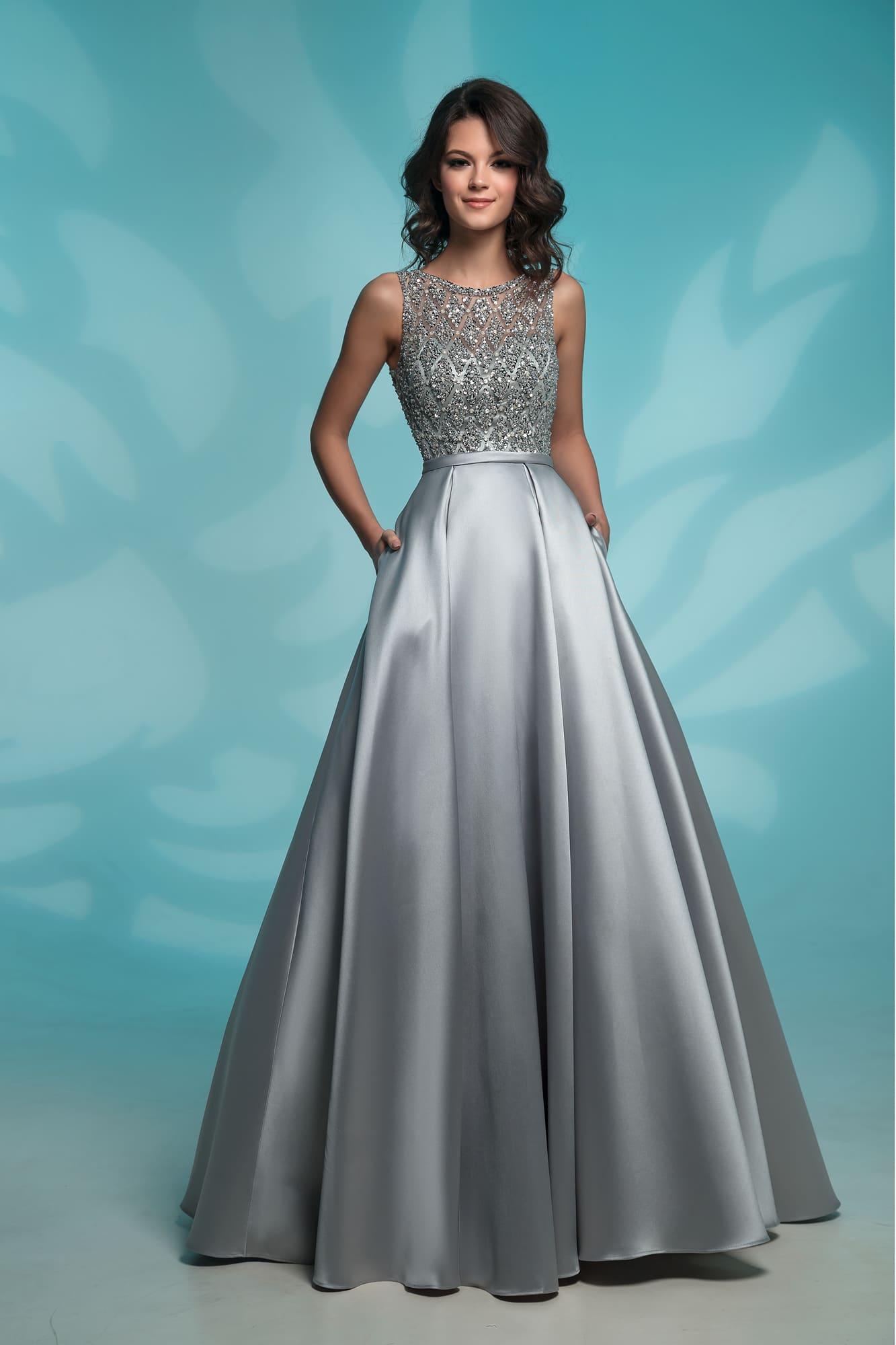 79f7a8c9507ae4a Платье на выпускной с карманами Nora Naviano 8142 grey. Купить ...