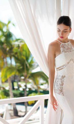 Свадебное платье «рыбка» с американской проймой на лифе.
