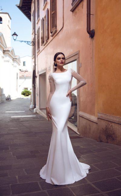 Свадебное платье «русалка» из атласа