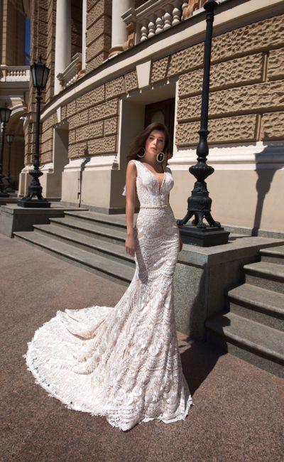 Свадебное кружевное платье «русалка»