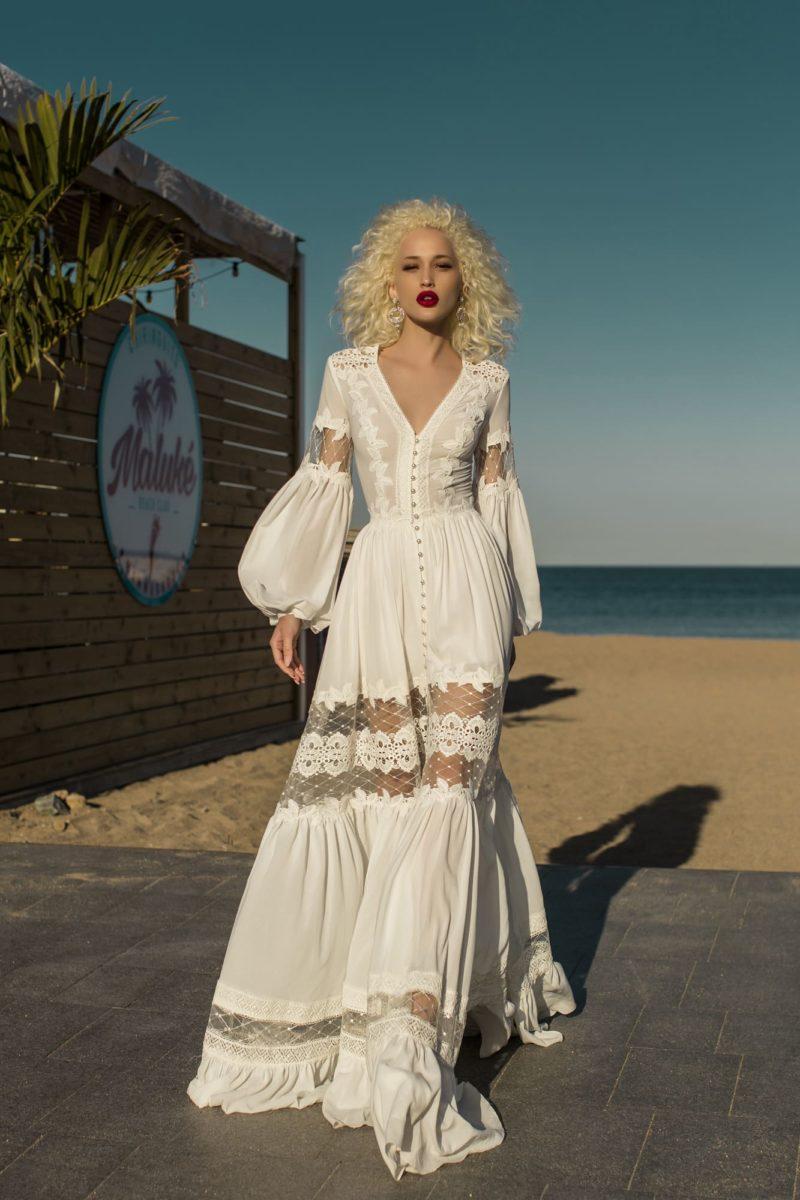 Очаровательное легкое свадебное платье в стиле бохо