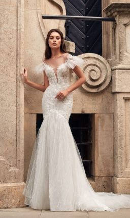 свадебное платье-русалка из кружева