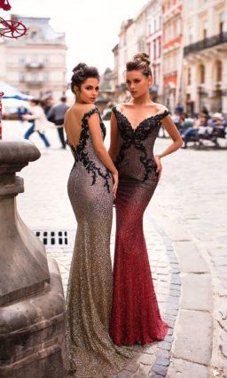 Броское мерцающее вечернее платье силуэта «русалка»