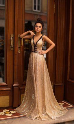 роскошное вечернее платье цвета золота
