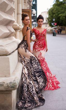 вечернее платье силуэта «русалка» с открытой спиной