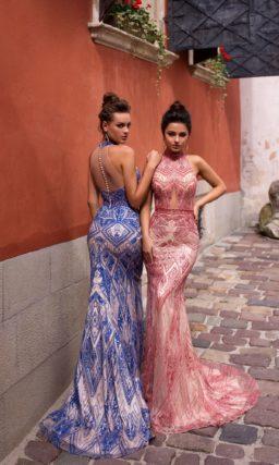 вечернее платье силуэта «русалка» в синем или красном цвете