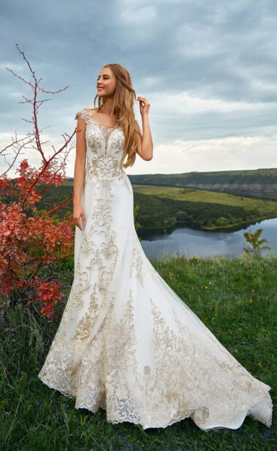 Элегантное белое свадебное платье «русалка»