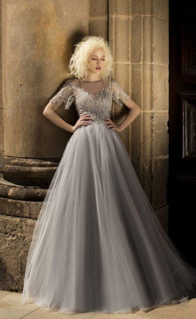 Серое свадебное платье