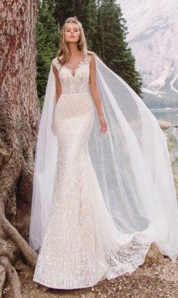 Изысканное свадебное платье в оттенке пудра