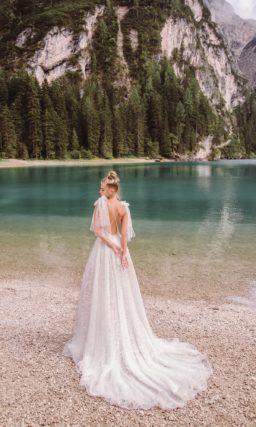 свадебное платье в пол с пышным низом