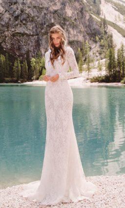 свадебное платье с закрытым верхом и длинным рукавом