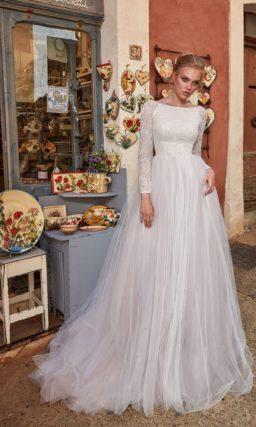 свадебное платье с закрытым верхом с вырезом лодочкой