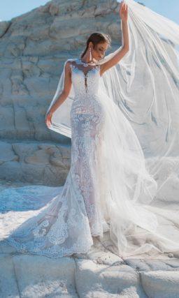 Кружевное свадебное платье с очаровательным силуэтом