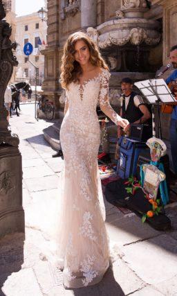 Свадебное платье рыбкой с длинными рукавами