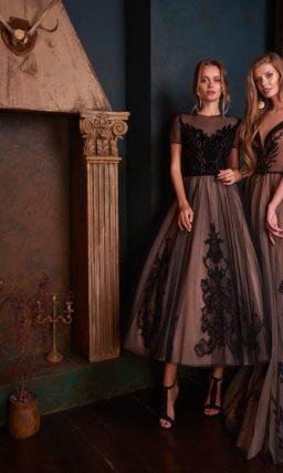Изысканное платье кофейного оттенка