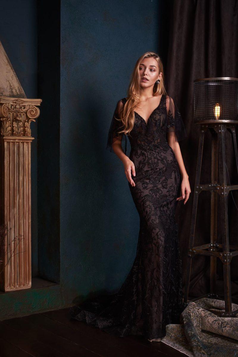Элегантное черное вечернее платье «русалка»