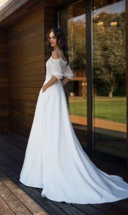 свадебное платье на тонких бретельках