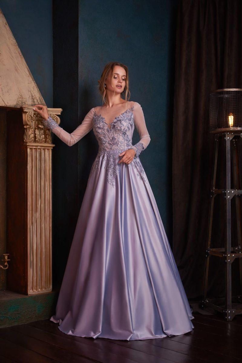 Вечернее платье сиреневого оттенка