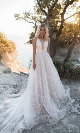 Свадебное платье серебристо-жемчужного оттенка