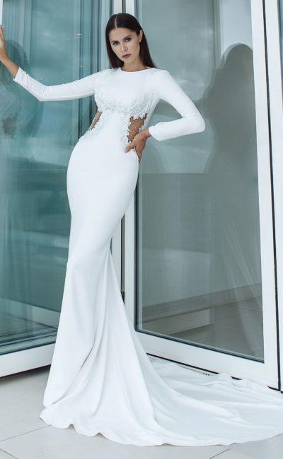 Закрытое платье русалка с рукавами