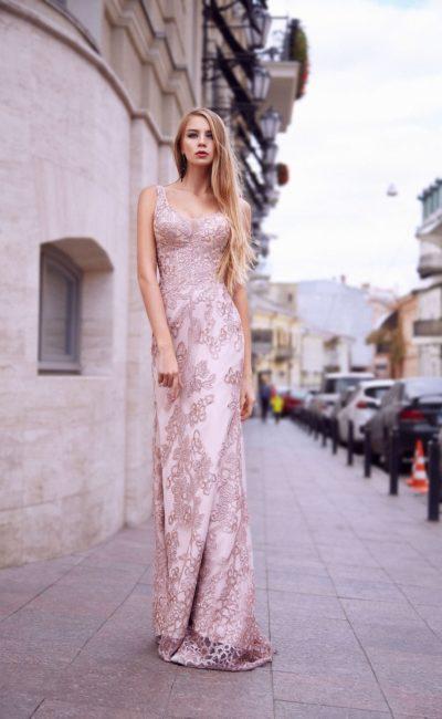 Розовое вечернее платье на выпускной