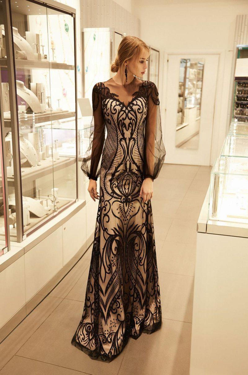 вечернее платье в пол прямого кроя