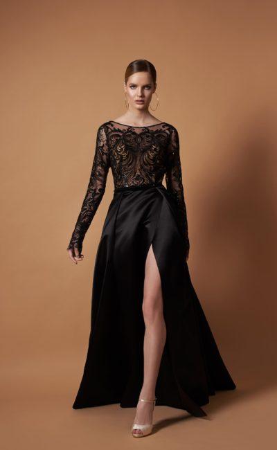 Черное вечернее платье до пола