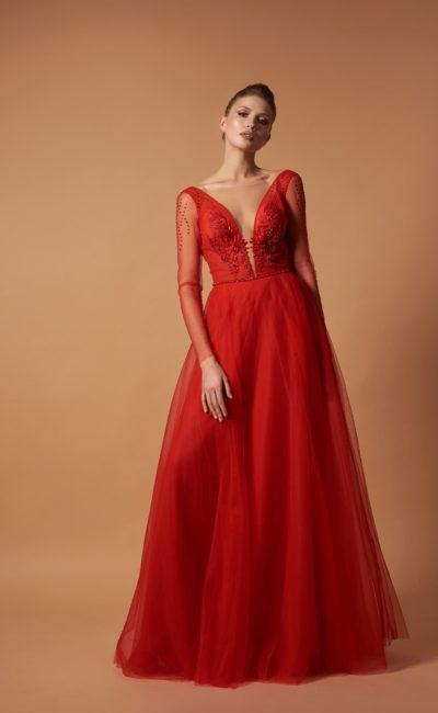 Красное вечернее платье до пола