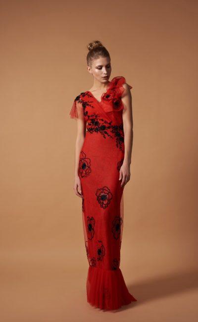 Красное коктейльное платье в пол
