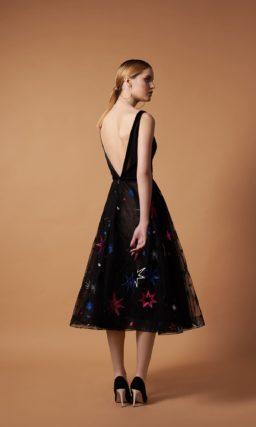 Черное коктейльное платье миди