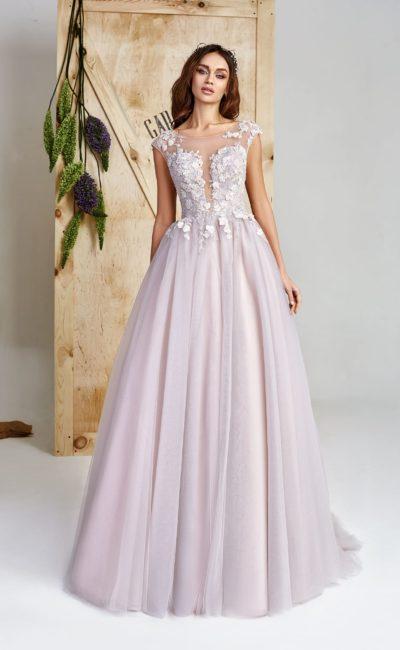Лиловое пышное свадебное платье