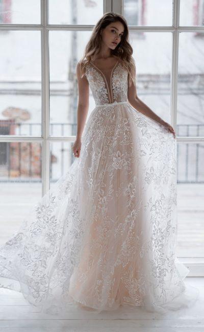 легкое кружевное свадебное платье