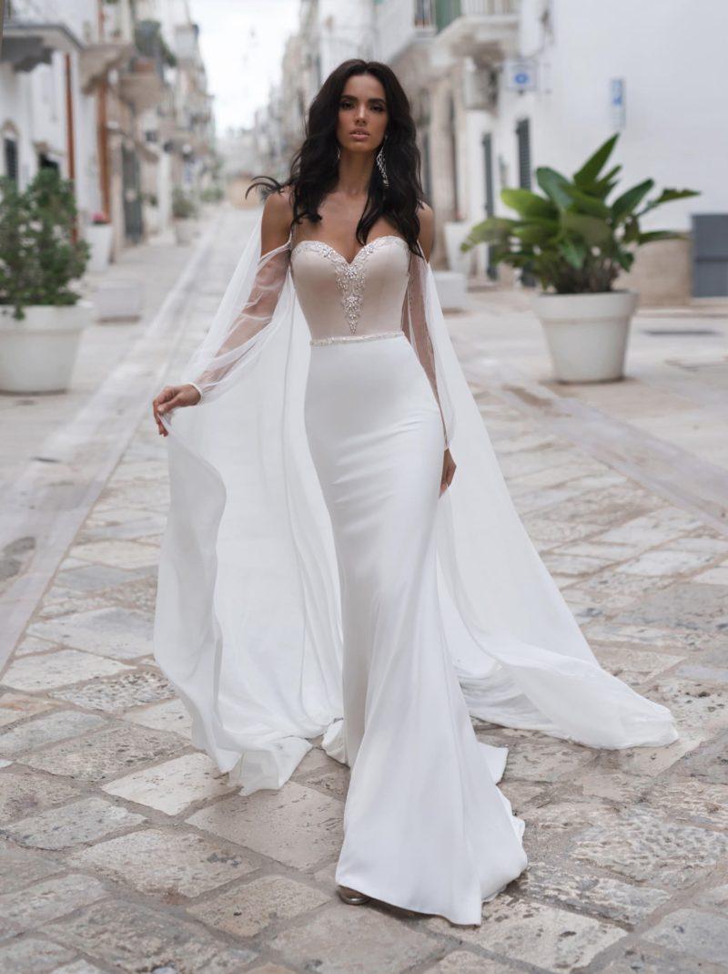 свадебное платье-русалка из гладкого атласа