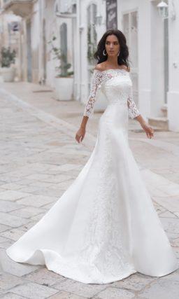 Атласное свадебное платье-трансформер силуэта «русалка»