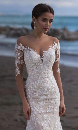 свадебное платье-русалка цвета капучино со шлейфом